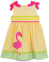 Rare Editions Flamingo Gingham Seersucker Dress, Toddler Girls