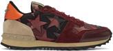 Valentino Burgundy Camustars Rockrunner Sneakers