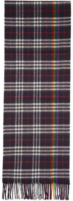 Burberry Navy Cashmere Rainbow Check Scarf