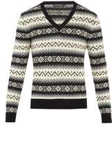 Alexander McQueen Striped geometric cashmere-knit sweater