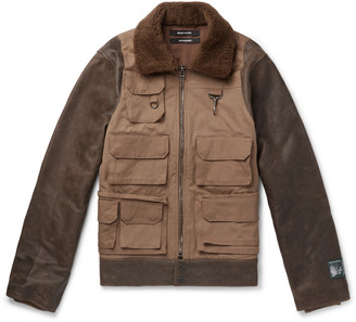 Reese Cooper Panelled Shearling-Trimmed Cotton-Twill And Leather Jacket