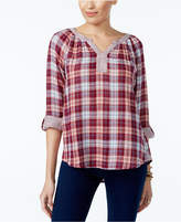 Style&Co. Style & Co Cotton Plaid Top, Created for Macy's
