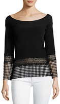 Elie Tahari Alisha Lace-Trim Bateau-Neck Sweater