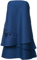 Halston layered off-shoulder dress - women - Silk/Cotton - 0