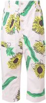 Julien David sunflower print cropped trousers