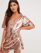 PrettyLittleThing Sequin V Neck Oversized Dress