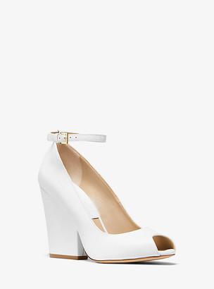 Michael Kors Julianne Leather Peep-Toe Pump