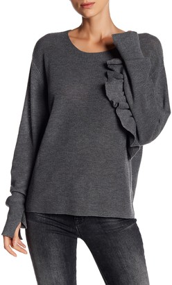 Line Ribbed Ruffle Sleeve Sweater