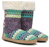 Dearfoams Women's Tall Patchwork Memory Foam Boot Slipper