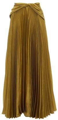 Peter Pilotto Draped-waist Pleated Satin Maxi Skirt - Gold