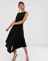 Closet London sleeveless midaxi midi dress with fluted hem in black