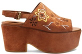 See by Chloe Floral-embroidered suede platform sandals