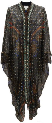 Camilla Beaded Silk-blend Chiffon Cover Up - Black Print