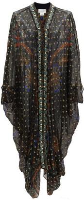 Camilla Beaded Silk-blend Chiffon Cover Up - Womens - Black Print