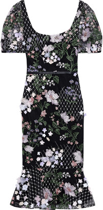 Marchesa Notte Floral-appliqued Embroidered Tulle Midi Dress