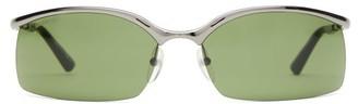 Balenciaga Rectangular Half-frame Metal Sunglasses - Mens - Grey