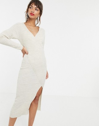 Asos Design DESIGN knit rib midi dress with wrap detail-Stone