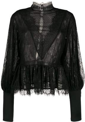 Amen lace trim sheer blouse