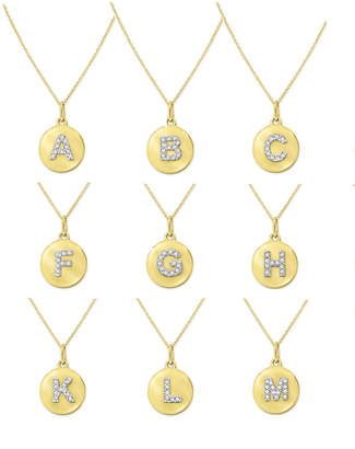 KC Designs 14k Yellow Gold Diamond Disc Initial Necklace