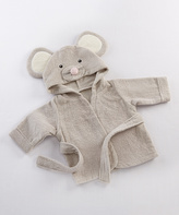 Baby Aspen Gray French Terry Mouse Hooded Robe - Infant