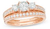 Zales 7/8 CT. T.W. Diamond Three Stone Bridal Set in 10K Rose Gold