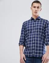 HUGO Slim Fit Window Pane Check Shirt In Navy