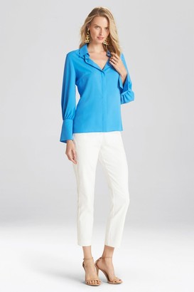 Natori Solid Silky Soft Collared Blouse