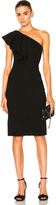 Saint Laurent One Shoulder Ruffle Dress