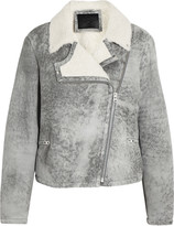 McQ by Alexander McQueen Distressed shearling biker jacket