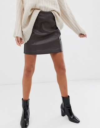 New Look faux leather seamed mini skirt in brown