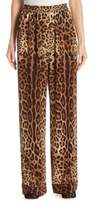 Dolce & Gabbana Leopard-Print Crepe de Chine Pajama Pants
