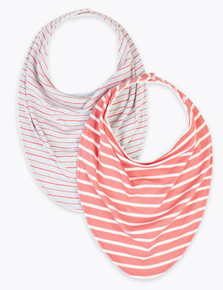 Marks and Spencer 2 Pack Adaptive Cotton Striped Bibs