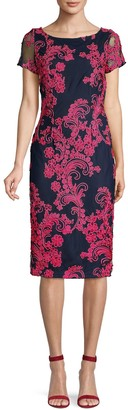 JS Collections Embroidery Short-Sleeve Sheath Dress
