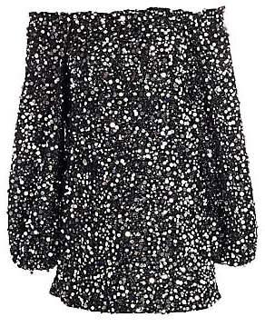 Rotate by Birger Christensen Women's Gloral Sequin Off-the-Shoulder Puff-Sleeve Shift Dress
