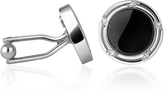 A-Z Collection Onyx Silver Plated Round Cufflinks