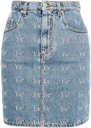 MSGM Faded Embroidered Denim Mini Skirt