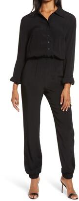 Fraiche by J Long Sleeve Button Front Jumpsuit