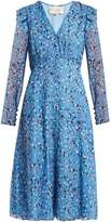 Carolina Herrera Abstract floral-print V-neck silk crepe dress