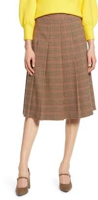 Halogen x Atlantic-Pacific Check Pleat Midi Skirt