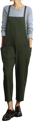 VONDA Women's Strappy Jumpsuits Baggy Overalls Casual Cotton Dungarees D-Army Green L