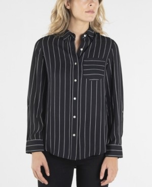 Nanette Lepore Long Sleeve Striped Button Down with Single Breast Pocket