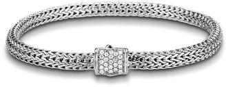 John Hardy Extra Small Chain Bracelet w/ Diamond Pave Clasp