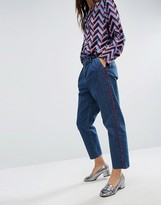 Asos Denim Pants With Red Side Piping