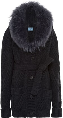 Prada Fur Collar Knitted Cardigan