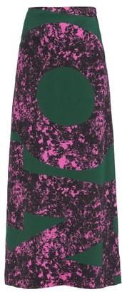 Colville - Alphabet-print Crepe Maxi Skirt - Green
