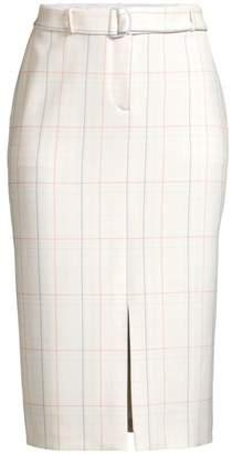 BOSS Valyris Ponte Check Long Pencil Skirt