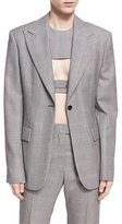 Calvin Klein Plaid Worsted Wool Blazer