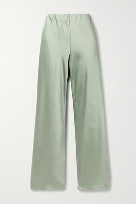 Vince Crinkled-satin Straight-leg Pants - Gray green