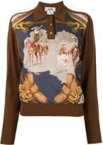 Hermes horse print logos long sleeve tops
