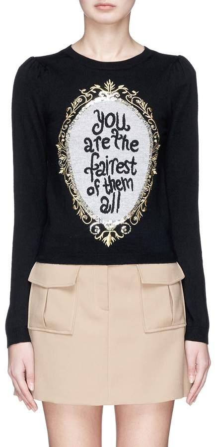 Alice + Olivia 'Marigold' slogan embellished wool sweater